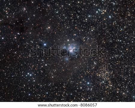 NGC 7129 wide field in Cepheus