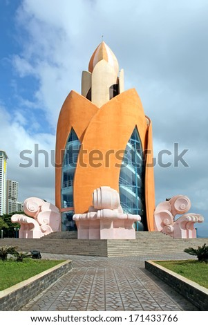 NHA TRANG, VIETNAM - DECEMBER 21, 2012: The building in the form of a lotus on the embankment of Nha Trang on December 21,2012, Vietnam
