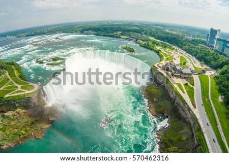 Niagara Falls Aerial skyline shot