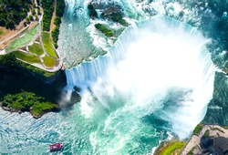 Niagara Falls Aerial View from helicopter, Canadian Falls, Canada