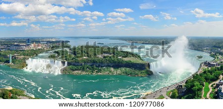 Niagara Falls aerial view panorama with blue sky and cloud