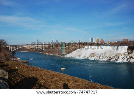 Niagara Falls and Rainbow bridge in early spring