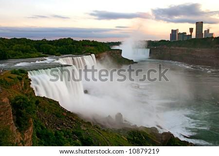 Niagara Falls at dusk - stock photo