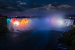 Niagara falls at night, colorful lights