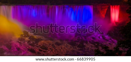 Niagara Falls at night in rainbow colors (The Horseshoe falls)