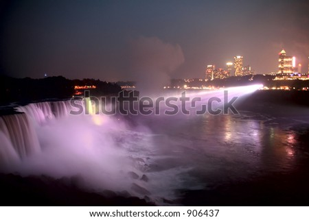 Niagara Falls at Night, lit up with the lights, taken from the American side.