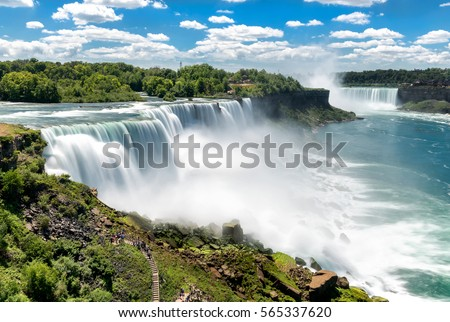 Niagara falls between United States of America and Canada.