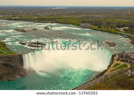 Niagara falls from the tower - stock photo