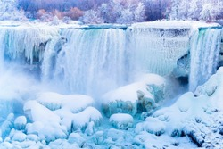 Niagara Falls frozen during deep winter