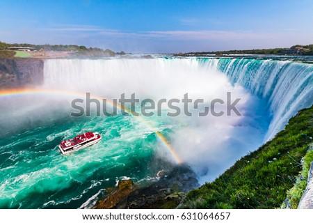 Niagara Falls Hornblower Tour Boat under Horseshoe Waterfall Rainbow