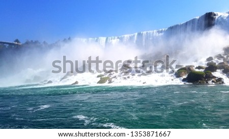 Niagara falls is a very famous attraction for tourist in both United States and Canada. The front view of the fall is taken from the maid of the mist.
