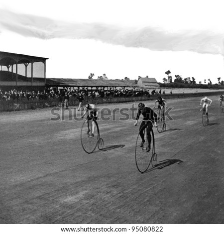 Niagara Falls, NY, USA c 1890: Boneshaker bicycle racers at the finish line. Vintage Photo. Bicycle Race, Attributed To: Geo. Barker (17 July 1844 – 1894) vintage stadium with crowd black and white