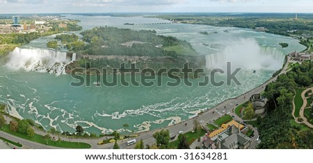 niagara falls panorama photo taken from Skylon tower on Canadian side