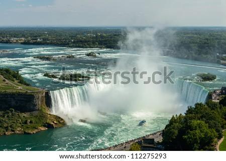 Niagara Falls view from Skylon Tower platforms, horseshoe