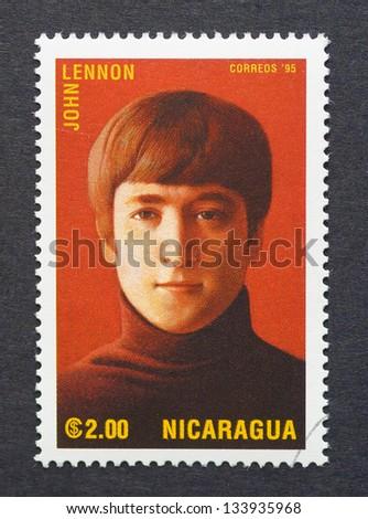 NICARAGUA - CIRCA 1995: a postage stamp printed in Nicaragua showing an image of John Lennon, circa 1995.