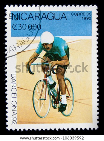 NICARAGUA - CIRCA 1990: A stamp printed in Nicaragua related with cycling, series Olympic Games in Barcelona 1992, circa 1990