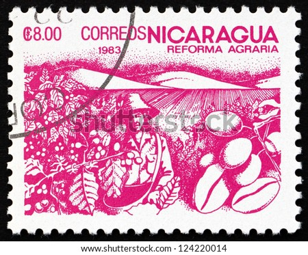 NICARAGUA - CIRCA 1983: a stamp printed in Nicaragua shows Coffee Beans, Agrarian Reform, circa 1983