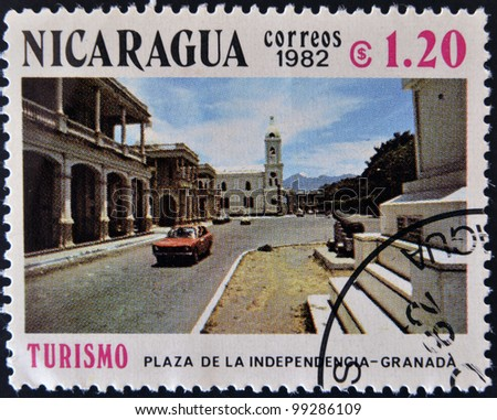 NICARAGUA - CIRCA 1982: A stamp printed in Nicaragua shows Independence Square - Granada, circa 1982