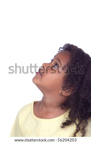 Nice african little girl looking up isolated on white background