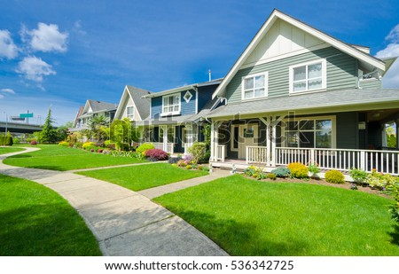 Nice and comfortable neighborhood. Houses in the suburbs of Vancouver. Canada.