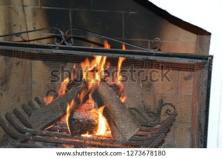 nice  and dark chimney with orange and red fire