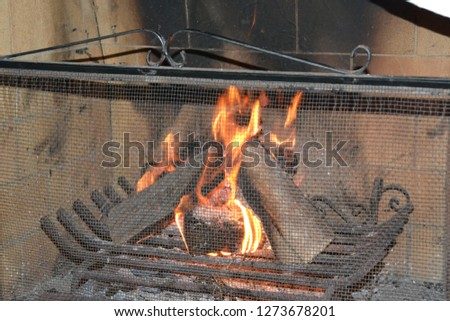 nice and dark chimney with orange and red fire, burning logs