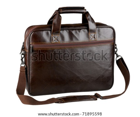 Nice and useful briefcase or computer bag made of genuine leather isolated on white background - stock photo
