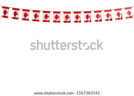 nice anthem day flag 3d illustration - many Canada flags or banners hangs on string isolated on white