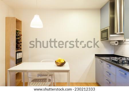 Nice apartment, interior, comfortable domestic kitchen