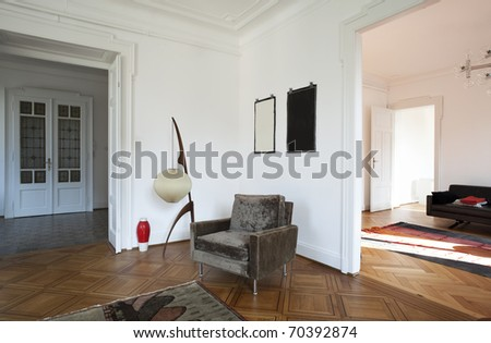 nice apartment refitted, view  living-room with furniture retro