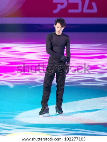 NICE - APRIL 1: Daisuke Takahashi of Japan skates during official gala exhibition practice at the ISU World Figure Skating Championships, held on April 1, 2012 in Nice, France