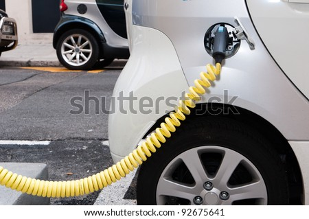 NICE - APRIL 29: Electric cars at a charging station in the French city of Nice on April, 29 2011, in Nice France.