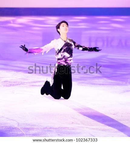 NICE - APRIL 1: Yuzuru Hanyu of Japan skates during gala exhibition at the ISU World Figure Skating Championships, held on April 1, 2012 in Nice, France