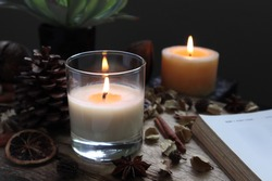 nice aromatic scented candle glass is lighting on the wooden holder on black wooden table with dried flowers , herbs and spices pinecone in the living room during Christmas new year party happy family