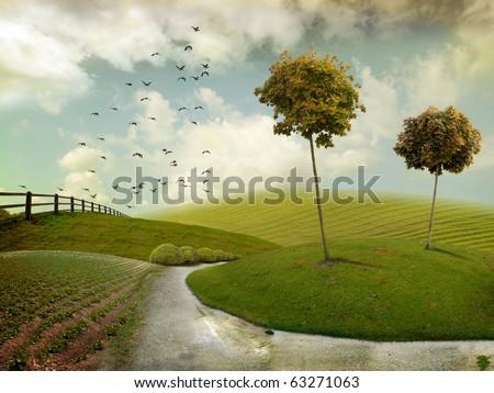 Nice autumn landscape for background