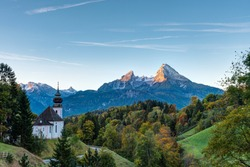 Nice autumn morning in Bavaria with  the small Maria Gern church and Mount Watzmann