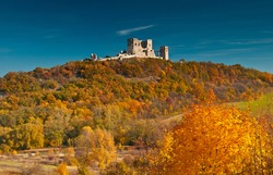 Nice autumnal scene with the ruins of the castle of Csesznek, Hungary