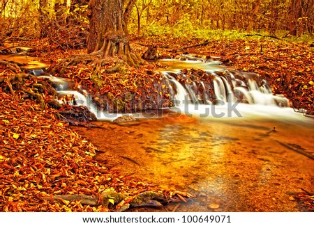 Nice autumnal scene with waterfall