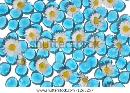 Nice background for a summer feeling, blue glass with daisies.