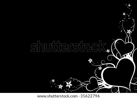 Nice background with white hearts on black background
