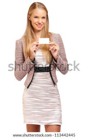 nice blonde business woman with business card, isolated on white