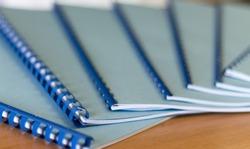 Nice blue handbooks on office desk