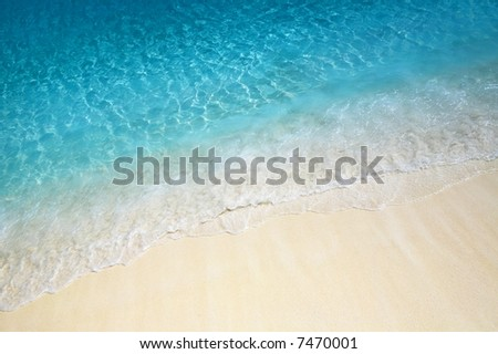 Nice blue water ripples near the shore in the Indian Ocean