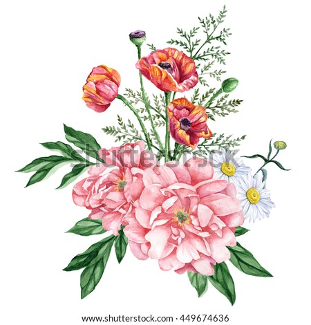 Nice bouquet of garden peonies, red poppies and daisies isolated on white background. Watercolor hand-painted illustration. Great for cards design, scrapbooking