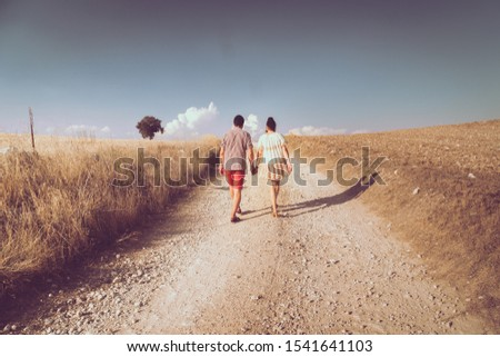nice boyfriends walking in the countryside #1541641103