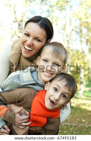 nice boys with mom on the nature #67495183