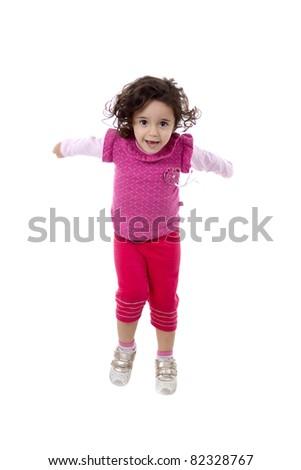 Nice brazilian child girl jumping, isolated on white.