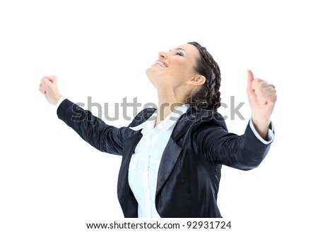 Nice business woman having achieved success. Isolated on a white background.