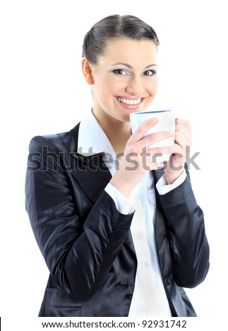 Nice business woman with a cup of coffee. Isolated on a white background.