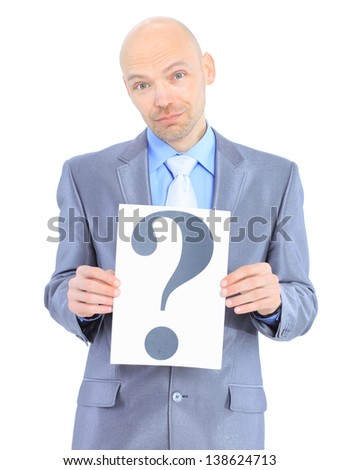 Nice businessman, with a question mark. Isolated on a white background.